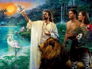 Jesus com adao e eva