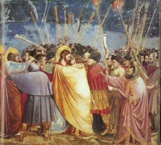 18Giotto_-_Scrovegni_-_-31-_-_Kiss_of_Judas