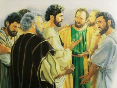 Jesus talking to the apostles