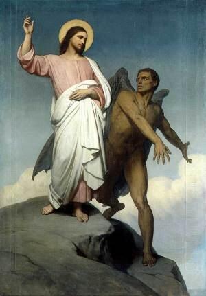 Jesus es tentado por Satan en el desierto