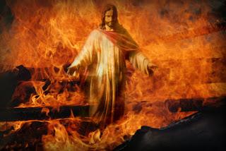 Purgatorio Infierno Jesus camina sobre el fuego