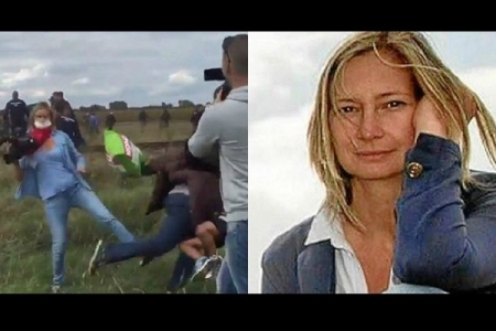 reportera húngara pateando refugiados