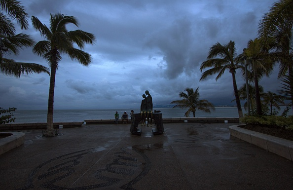 View of a breakwater after the arrival of hurricane Patricia in Puerto Vallarta, Mexico on October 24 ,2015. Record-breaking Hurricane Patricia weakened to a tropical storm over north-central Mexico on Saturday, dumping heavy rain that triggered flooding and landslides but so far causing less damage than feared. AFP PHOTO/HECTOR GUERRERO (Photo credit should read HECTOR GUERRERO/AFP/Getty Images)