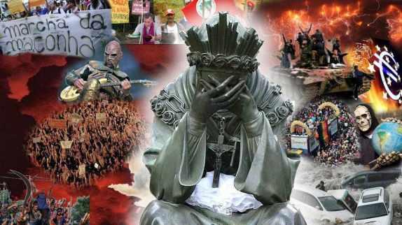 Nuestra Señora de La Salette llorando, fondo calamidades