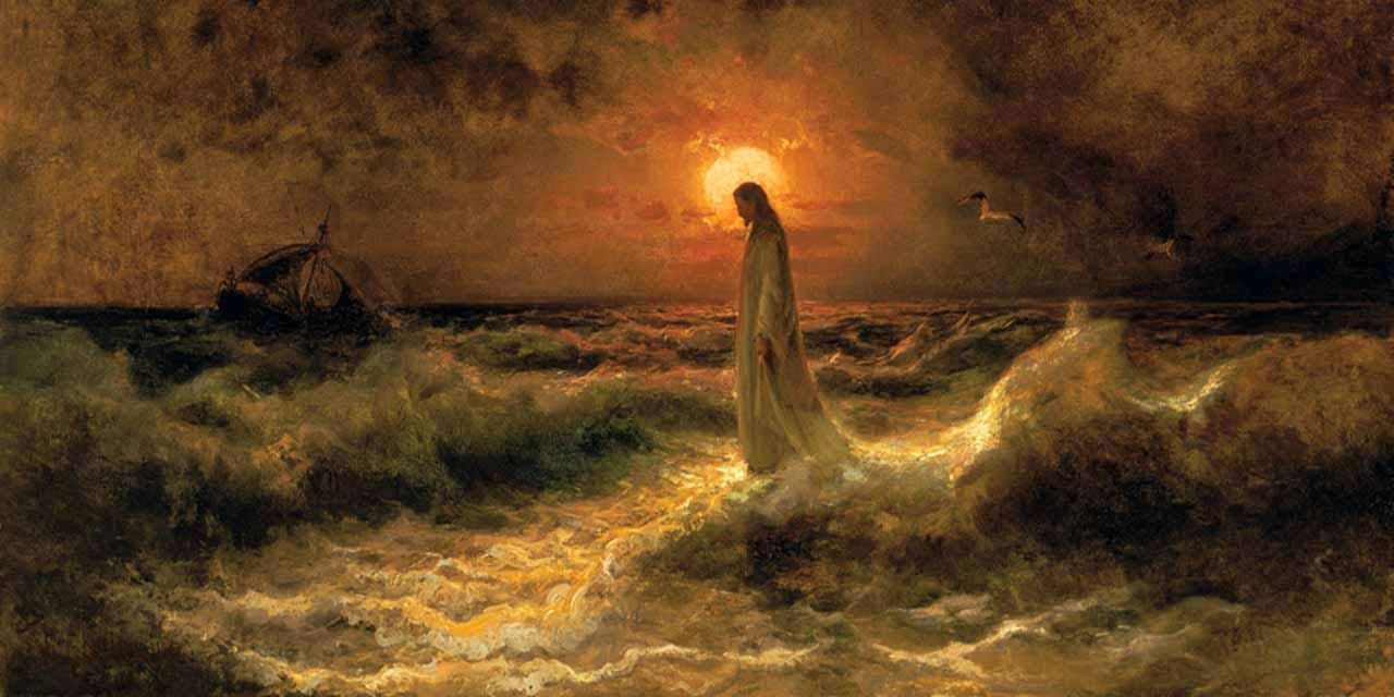 jesus camina sobre lsa olas