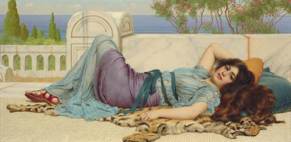 alex -mischief-and-repose-john-william-godward